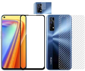Backlund [3 in 1] for Realme Narzo 20 Pro;Realme 7 11D/ 13D gorilla tempered glass with clear 3d carbon fiber back skin rear screen guard protector with camera protector tempered glass