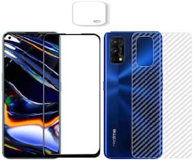 Backlund [3 in 1] for Realme 7 Pro 11D/ 13D gorilla tempered glass with clear 3d carbon fiber back skin rear screen guard protector with camera protector tempered glass