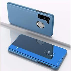 ACCESORIES LEGACY Glass Flip Cover For Samsung Galaxy M11 ( Blue )