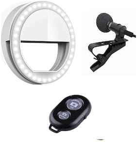 Backlund Combo 3 in 1 Selfie Selfie Ring Light with 3 Modes  For Mobile Phone , Collar MIC for Voice Recording and Wireless Selfie Bluetooth Shutter Remote Controller for Selfie Click
