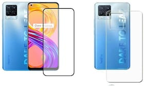 Backlund [Combo Of 2] for Realme 8 Pro,Realme 8 [HD PLUS OR D PLUS] Tempered Glass with Clear Transparent Back Skin Rear Screen Guard