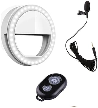 Backlund Combo 3 in 1 Selfie Selfie Ring Light with 3 Modes and 36 LED For Mobile Phone ,Collar MIC for Voice Recording and Wireless Selfie Bluetooth Shutter Remote Controller  for Selfie Click