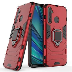 ACCESORIES LEGACY Metal & Plastic Back Cover & Flip Cover For Realme 5s ( Red )