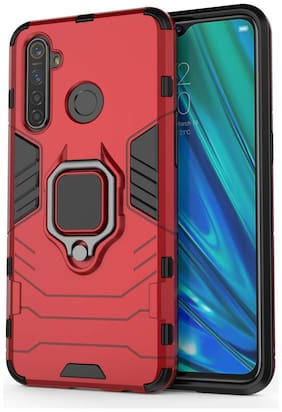 Backlund D5 Ringstand Case for Realme 5i , Realme 5, Realme 5s| Matte Dual Layer Protective Hybrid Ultra Rugged Bumper Armor Shockproof 360° Kickstand Back Case Cover for Realme 5i, Realme 5s Red