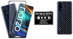 Backlund Edge To Edge Tempered Glass;Camera Lens Protector;Ultra Thin Slim Fit 3M Clear Transparent 3D Carbon Fiber Back Skin Rear Screen Guard Protector Sticker for REALME NARAZO 20 PRO