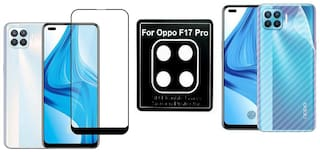 Backlund Edge To Edge Tempered Glass;Camera Lens Protector;Ultra Thin Slim Fit 3M Clear Transparent 3D Carbon Fiber Back Skin Rear Screen Guard Protector Sticker for OPPO F17 PRO