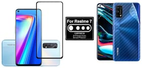 Backlund Edge To Edge Tempered Glass;Camera Lens Protector;Ultra Thin Slim Fit 3M Clear Transparent 3D Carbon Fiber Back Skin Rear Screen Guard Protector Sticker for REALME 7