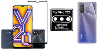 Bac Edge To Edge Tempered Glass;Camera Lens Protector;Ultra Thin Slim Fit 3M Clear Transparent 3D Carbon Fiber Back Skin Guard Protector Sticker for Vivo Y20/Vivo Y20i/Vivo Y20S/ Y11S/ Y12S/ Y20A