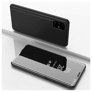 Samsung Galaxy A31 Glass Flip Cover By ACCESORIES LEGACY ( Black )