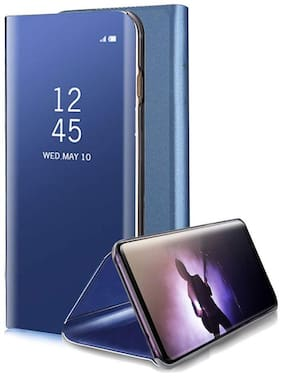 Backlund Vivo Y20g/Vivo Y20S/Vivo Y11S/Vivo Y12s/Vivo Y20A Mirror flip Luxury Clear View electroplated with Magnetic Stand Protective Mirror flip Cover for Vivo Y20/20i (Vivo Y20g flip Cover,Blue)