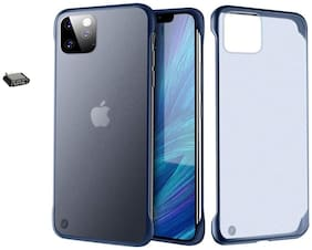 Backlund Frameless Case For Apple iPhone 11 Cover Ultra Slim Frameless Hard Mate PC Cover Transparent Matte Phone Case Cover for Apple iPhone 11 (Matt Blue) Without Mental Ring (OTG Adapter)