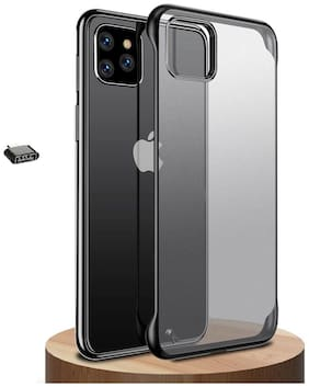 Backlund Frameless Case For Apple iPhone 11 Pro Max Cover Ultra Slim Frameless Hard Mate PC Cover Transparent Matte Phone Case Cover for Apple iPhone 11 Pro Max (Black) Without Ring (OTG Adapter)
