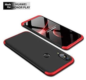 ACCESORIES LEGACY  Full Body 3 in 1 Slim Fit Complete 3D 360 Degree Protection Hybrid Hard Bumper Back Case Cover for Honor Play (Red & Black)