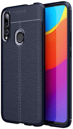 Backlund Honor 9X / Huawei Y9 Prime 2019 Back Cover Drop Tested Shock Proof Slim Armor Rugged TPU Leather Texture Case for Honor 9X / Huawei Y9 Prime 2019 Mobile Phone, BLUE
