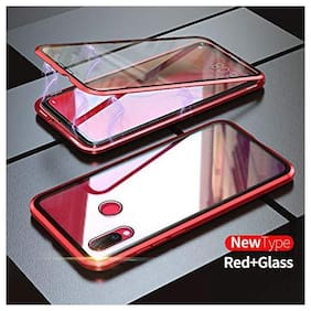 Backlund Luxury Auto-Fit Magnetic Adsorption 2-in-1 Metal Bumper Frame with 9H Clear Glass on Back Side (No Front) Case Cover Designed for Redmi Note 7, Redmi Note 7s, Redmi Note 7 Pro (Red Dual)