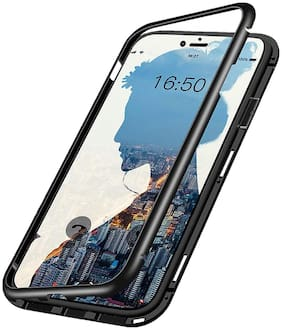 ACCESORIES LEGACY  Luxury Auto-Fit Magnetic Adsorption 2-in-1 Metal Bumper Frame with 9H Clear Glass on Back Side (No Front) Case Cover Designed for Realme Q   Realme 5 Pro (Black Dual Protection)