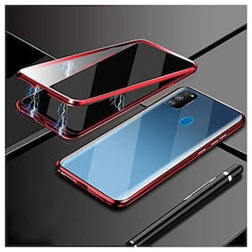 Backlund Luxury Auto-Fit Magnetic Adsorption Case 2-in-1 Metal Bumper Frame with 9H Clear Glass Only On Back Side (No Front Glass) Case Cover Designed for Samsung Galaxy M21 , Samsung Galaxy M30s Red