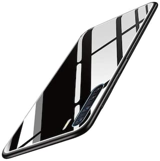 Oppo F15 Glass Back Cover & Hard Back Cover By ACCESORIES LEGACY ( Black )