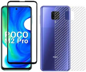 Backlund POCO M2 PRO;REDMI NOTE 9 PRO;REDMI NOTE 9 PRO MAX Back Screen Protective Film Carbon Fiber Skin Transparent Screen Guard Sticker 5D/6D/11D/21D Black Premium Tempered Glass Screen Protector