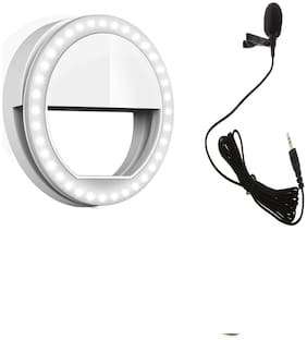 Backlund Portable Rechargeable LED Selfie Lighting Ring for Photography with 3 Modes and Professional Collar Mic for Smartphones Recording | Video Conference Compatible with All Devices