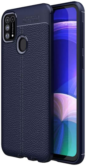 Backlund Samsung Galaxy M31 / Samsung F41 Max Cover Leather Texture Series Shockproof Armor TPU Back Cover Case for Samsung Galaxy F41 / Samsung M31 Mobile Phone, Aurora Blue