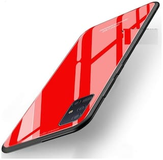 Samsung Galaxy A51 Glass Back Cover & Hard Back Cover By ACCESORIES LEGACY ( Red )