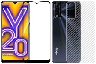 Backlund Vivo Y20i/Vivo Y20s/Vivo Y20/Vivo Y11S/Vivo Y12/Vivo Y20A Back Screen Protective Film Carbon Fiber Skin Transparent Screen Guard Sticker 11D Black Premium Tempered Glass Screen Protector