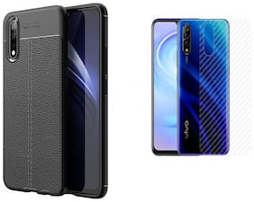 ACCESORIES LEGACY  Vivo S1 Shock Proof Leather Pattern Armour Carbon Fiber Soft Silicone Anti-Skid Back Cover for Vivo S1 Black With Back Screen Protector Film Carbon Fiber Finish Ultra Thin Scratch