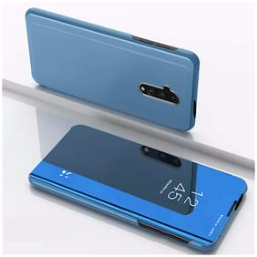 Backlund Xiaomi Redmi Note 8 Pro Mirror Flip Stand Case:Luxury Smart Slim Fit Clear View Window Electroplate Plating 360 Full Body Protective Cover for Xiaomi Redmi Note 8 Pro  Blue (TOUCH NOT WORK)