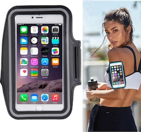 Bazaar Gali Portable & Light Weight Arm Band with Water Resistance for Yoga Grym Running Jogging & Outdoor Activities (Pack of 1) Black