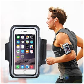 Bazaar Gali Arm Band Mobile Case with Adjustable Grip for Running/Jogging/Yoga & Gym Activities (Black) Pack of 1