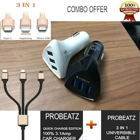 Best Combo Offer Smart Charge 3.1A Three Port Car Charger & 3 in1 Data Charging Universal Cable Micro USB, Type-C & 8 pin Lightning I-phone Cables