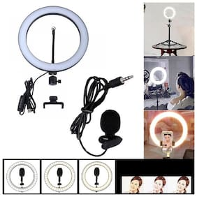 Big LED Selfie Ring Light with 3.5mm Jack Clip Mic,Collar Mic for Camera Smartphone to Capture Photo and Video with 3 Mode Light
