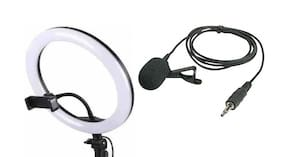 Big Selfie Ring Light with Collar 3.5mm Microphone for YouTube, TIK Tok Video & Streaming, Desk Makeup LED Ring Light with 3 Light Modes