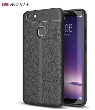 new product 99090 aec28 Buy Leather Texture Soft Premium Rubber Back Cover For VIVO V7 Plus ...