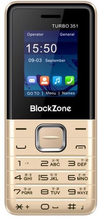 BlackZone Turbo351, 1.8 inch Display features phone (Gold)