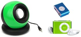 Bluemix Combo 2 in 1 Set of Portable Mini AUX Battery Rechargable Speaker with Music Sleek 4 GB MP3 Player