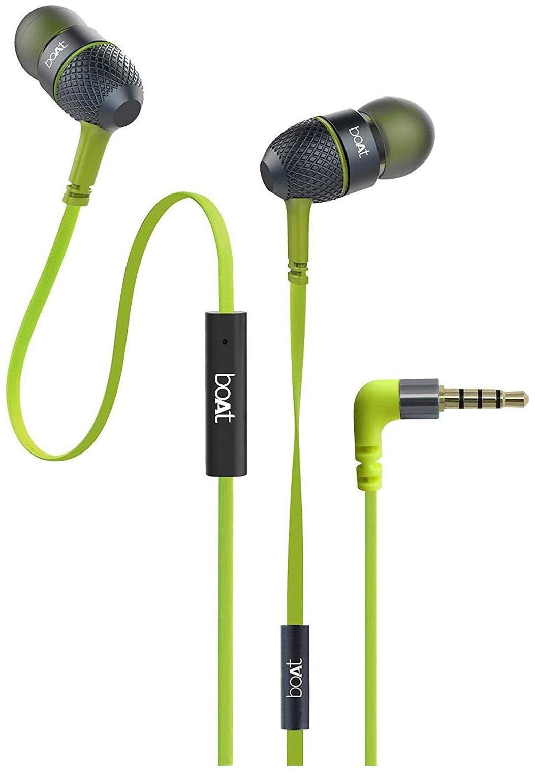 boAt Bassheads 220 Super Extra bass with Mic In Ear Wired Headphone   Green