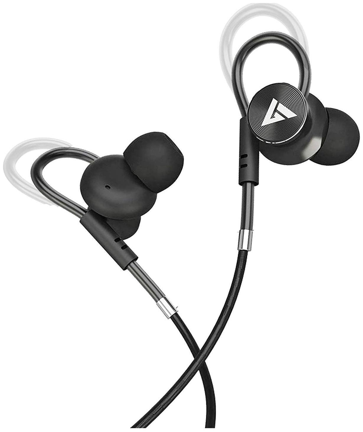Boult Audio BassBuds Loop in-Ear Wired Earphones withCustomizable Ear Loop (Black)