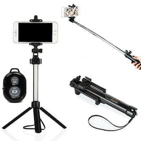Branded Wireless Bluetooth Selfie Stick with Bluetooth Remote Shooter Mono-pod With Tripod Feature for Apple iPhone (iOS)/Android Smartphones (Color May Vary)