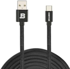 Branko BR-U07 Metal Charge & Sync 2.4A Ultra Quick Charging Type - C USB Cable 1 M Black
