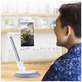 """BROLAVIYA ICEBERG MAKERS.IN 360 Rotating Flexible Long Arms 4-11"""" Dual Phone and Tablet Stand,Good for Kitchen, Bedroom, Living Room, Office, POS Kiosk Reception"""