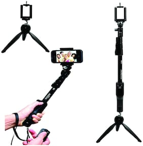 BTC YT-1288 Extra Long Selfie For Best Pictures With Bluetooth Remote and YT-228 Tripod Stand for Group Photos