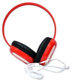 BTK Trade HP-1080 Over-Ear Wired Headphone ( Red & White )