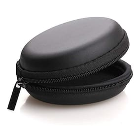 Buddies Cart Earphone Pouch Case for Earphones;Chargers;Memory Cards;Keys;Jewelry;Pen Drives;Data Cable Protector (Black)