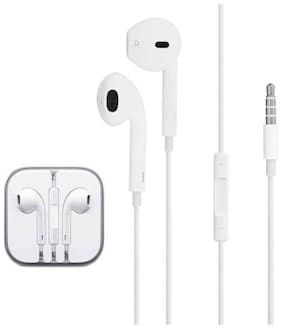 AVYUKTA Headphones With Mic, Hands-free Stereo noise canceling for Apple iPhone 6, 6 Plus, 5S, 5c, 5, 4S, 4 and Android Smart Phones - White In-Ear Wired Headphone ( White )