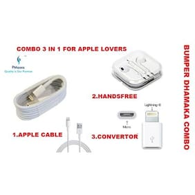 Pmaxxs  For APPLE/IPHONE : Handsfree,Earphone + 8 Pin IPhone Convertor Adaptor + 8 Pin  Premium Quality Charging/Sync Cable