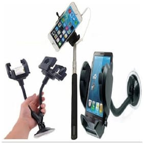 Buy Selfie Stick With Aux Wire With Free  Mobile Stand Mount & Car Dual 2 Mobile Stand - CMSADU
