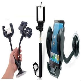 Buy Selfie Stick With Free Mobile Stand Mount & Car Dual 2 Mobile Stand - CMSMDU