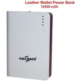 Callmate Leather Wallet 10400 mah Power Bank (White)